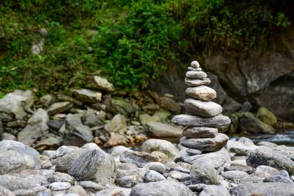 rock, stone, meditation, water, river, lake, river, green, leaves