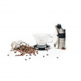 coffee, bean, seed, glass, jar, container, electronic, grinder, modern, technology, kitchen, appliances