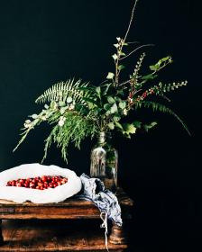 coffee, bean, table, cloth, jar, glass, plants, leaves, dark