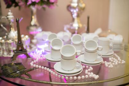 cup, saucer, ceramic, glass, table, interior, design, wedding, party, decoration, beads