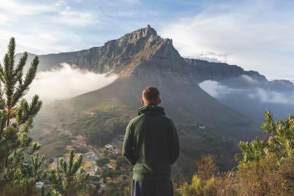 mountain, highland, cloud, sky, summit, ridge, landscape, nature, valley, hill, view, travel, trees, fog, people, man, guy, alone