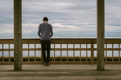 people, guy, man, standing, alone, outdoor, sea, ocean, view, horizon, wooden, cottage, landscape