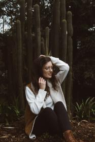 people, woman, fashion, beauty, eyeglasses, woods, forest, sweater, cactus, boots, photoshoot, happy, smile