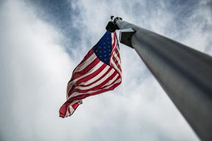 flag, united states, us, clouds, sky, freedom, democracy, flag pole, sovereignty, state, nation, country