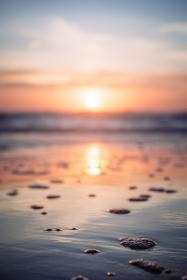 sea, ocean, water, wave, nature, sunset, blur, reflection