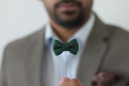 man,  green,  bowtie,  fashion,  style,  beard,  male,  pin,  suit,  shirt,  hold