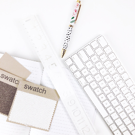 flat lay, desk, keyboard, white, simple, minimal, elegant, pen, swatch, creative, design, top, ruler, objects