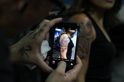 mobile, phone, camera, photography, electronic, gadget, modern, technology, touchscreen, girl, arm, tattoo