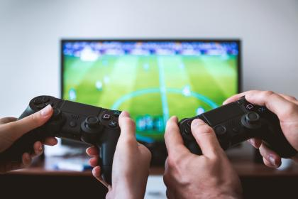 video, games, play, playstation, tv, screen, hands, modern, technology