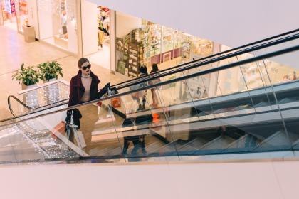 people, woman, girl, female, shopping, mall, bags, indoor, escalator, fashion, clothing, sunglasses,