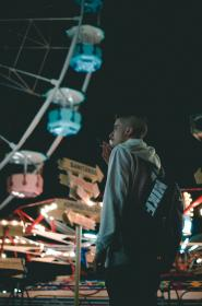 people, man, smoke, cigarette, hipster, ride, amusement park, ferris wheel, dark, night, light