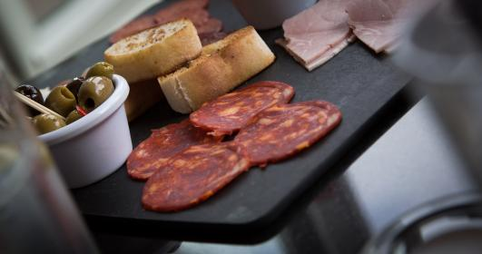 food, gourmet, table, spread, salami, slices, olives, bread, raw, ham, meals, delicious, bokeh