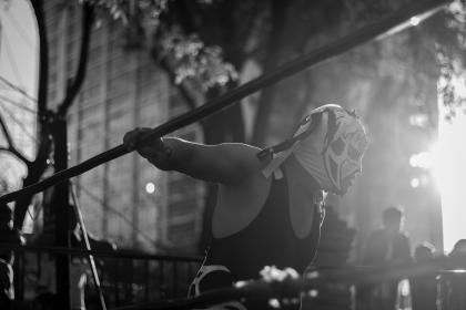 people, man, guy, woman, children, mask, wrestling, sports, ring, fence, show, outside, building, infrastructure, establishment, plant, tree