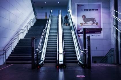 architecture, building, design, infrastructure, stairs, escalator, indoor, mall, people, alone, woman