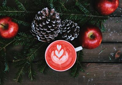 coffe, latte, art, froth, red, apple, christmas, holiday