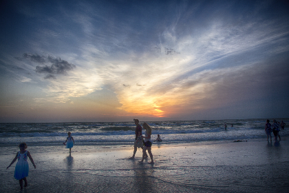 beach,  sunset,  florida,  ocean, people, children, play, clouds, sand, evening