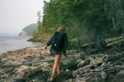 girl, hiking, trekking, walking, backpack, woman, people, wood, logs, coast, lake, water, trees, forest, woods, nature, adventure, fitness, outdoors, health