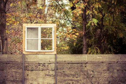 building, structure, wall, green, trees, plant, window, frame