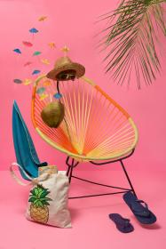 slipper, bag, logo, hat, summer, vacation, sunglasses, chair, relax, beach, coconut, leaf