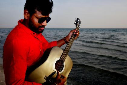 Guitar man,  guitar,  guitarist,  acoustic guitar,  guitar lover,  music music at the sunset,  playing guitar,  romantic monent,  romantic place,  place,  people,  beach ,   relaxing,   songs,   nature,   sunset at beach