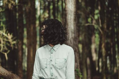 woman, girl, lady, people, stand, hair, flip, fashion, style, forest, trees, still, bokeh