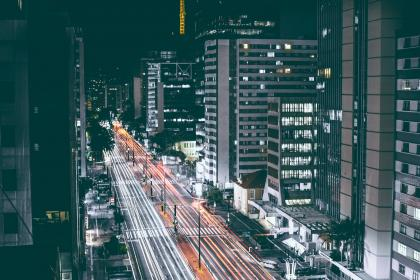 city, urban, buildings, downtown, cars, driving, lights, traffic, architecture, night, dark, evening