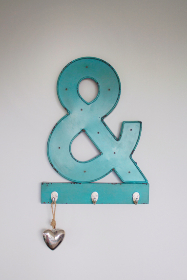 ampersand,  hanging,  hooks,  blue,  interior design,  white wall,  minimal