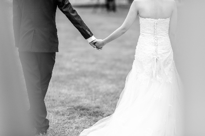 bride,  groom,  wedding,  holding hands,  married, walk, grass, black & white, white, dress, man, woman, love, romantic