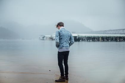 guy, man, male, people, back, head, down, fashion, style, denim, jacket, hi tops, sneakers, nature, water, sea, ocean, lake, shore, sand, bridge, fog, mountains