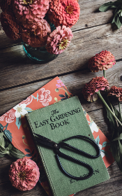 book,  table,  flowers,  rustic,  wood,  bouquet,  scissors,  arrangement,  fresh,  cut,  floral,  flat lay,  florist,  designer,  gardener,  above