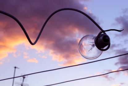 light, bulb, wire, electricity, sky, clouds, sunset