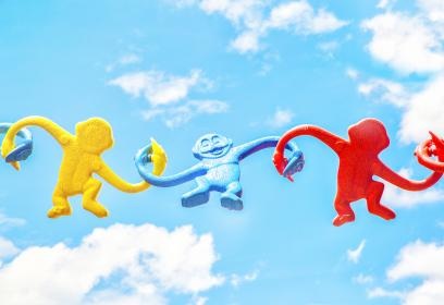 sky, clouds, art, puppet, monkey, colorful, crafts