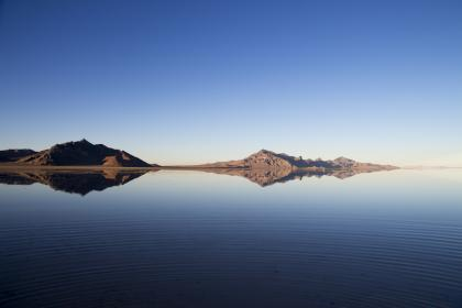 blue, sky, water, reflection, mountains, landscape