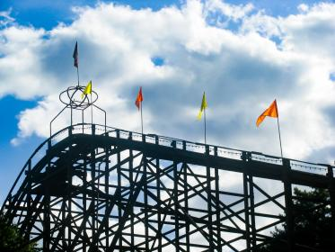 rollercoaster, amusement park, fun, ride, flags, sky, clouds, sunshine, silhouette, shadow
