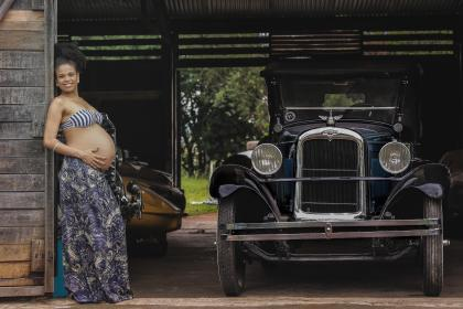 car, vehicle, transportation, vintage, old, garage, woman, african american, pregnan, mother, smile, proud, fashion, model, beauty