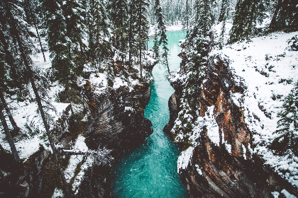 Snow,  winter,  snowing,  canyon,  Athabasca,  waterfalls,  waterfall,  glacier,  water,  stream,  lake,  river,  forest,  trees,  tree