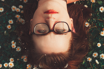 woman,  glasses,  daisies,  flower,  smile,  smirk,  upsidedown,  red,  lipstick,  girl,  female,  person,  people