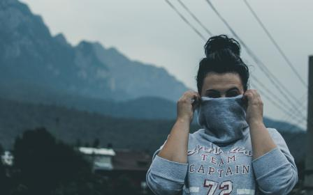 girl, woman, hood, silenced, people, brunette, power lines, outdoors, mountains, nature, sweater