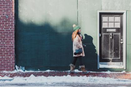 snow, winter, white, cold, weather, ice, people, woman, boots, jacket, fashion, door, building, bonet, shadow, alone