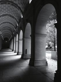 architecture, buildings, corridors, hallways, arch, pillars, light, shadows, patterns, perspective, black and white