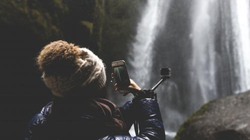 people, girl, alone, capture, camera, phone, photography, waterfalls, nature, monopad