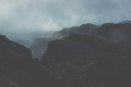 mountain, landscape, sky, clouds, fog, plant, tree, grass, nature, forest, outdoor, dark, night