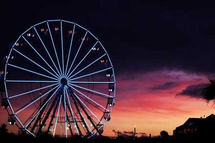 sunset, amusement park, park, ferris wheel, lights, night, dark, enjoy, happy