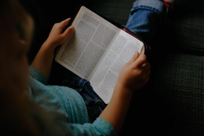 kid, girl, child, reading, book, bible, words
