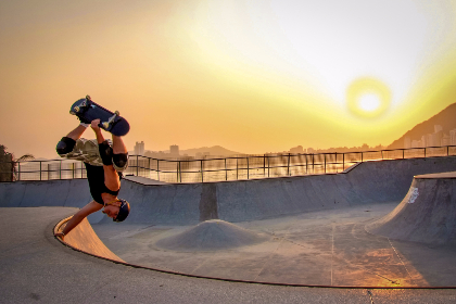 skateboarder sunset