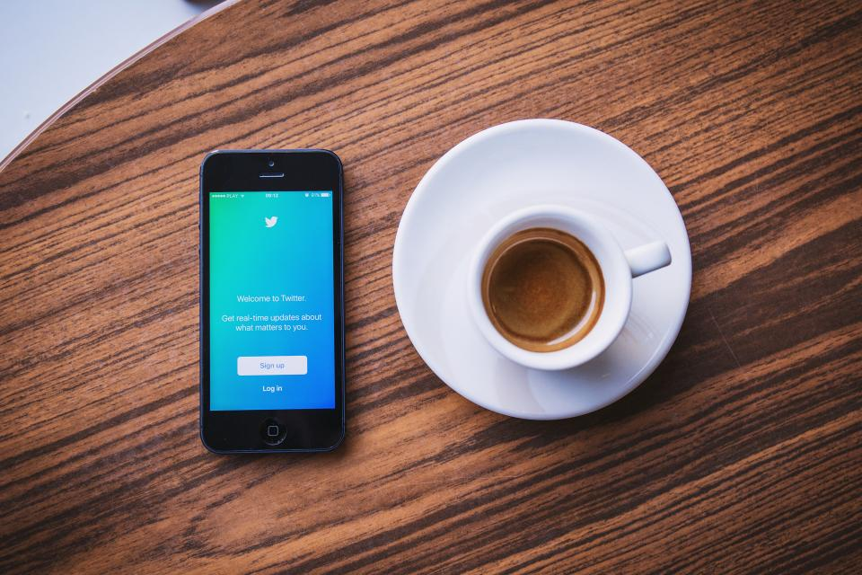 twitter social media business iphone mobile smartphone espresso coffee desk marketing