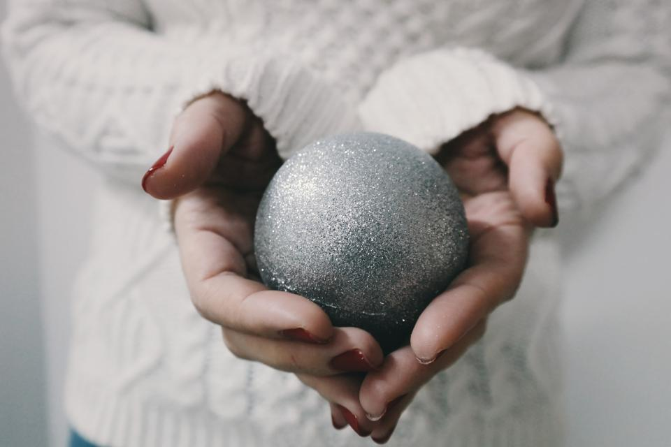 christmas ball decoration glitters sliver hand