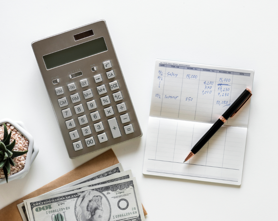 accounting bank bills business calculator checking closeup earnings finance financial flat lay flatlay flay lay future income investment isolated isolated on white money nobody objects passbook payment pen savings white