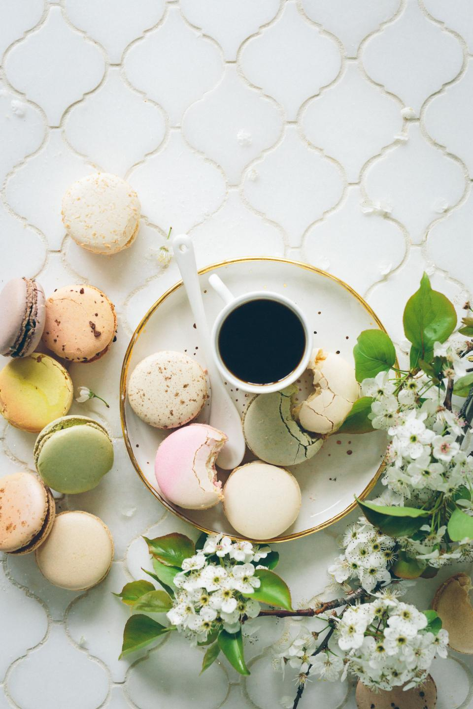 pastry colorful bake cookie table food dessert delicious flower coffee drink