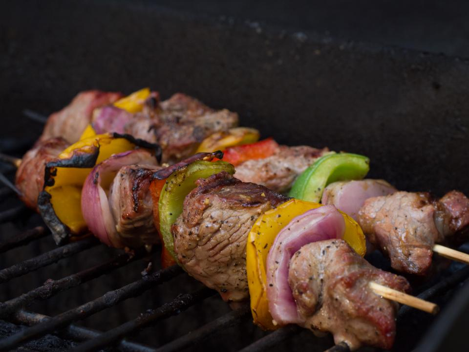 skewer meat vegetables grill food bbq barbecue